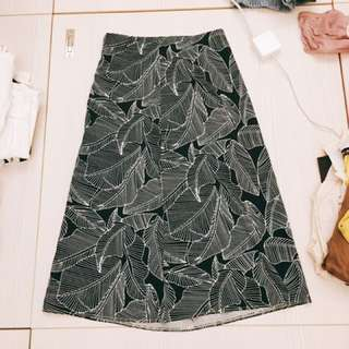 復古高腰黑色樹葉半身裙