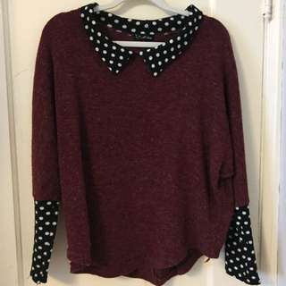 Cute Burgundy Polka Dot Sweater