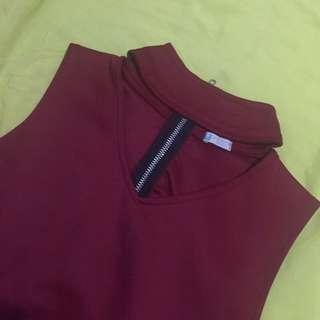 maroon chocker top