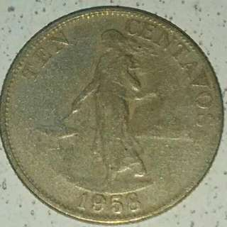 (SOLD)  1958 PHILIPPINE'S PESO very rare antique coin  next year (2018) will be 60 yrs 'old'  1958 年菲律賓披索 稀有古董級錢幣