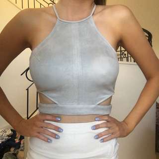 Grey Suede Crop