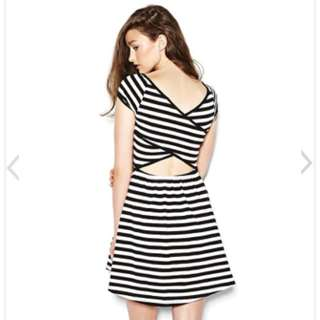 Striped Cross Back Dress