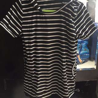 Striped Black and White Blouse with hoodie