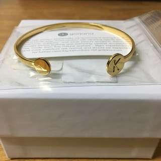 "Gorjana 18k Gold Plated ""K"" Alphabet Disc Cuff Bracelet"