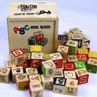 27pc Wooden Blocks In A Box