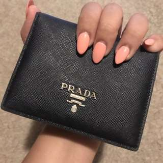 Black Real Saffiano Leather Prada Luxury Wallet