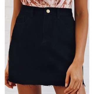 Black Denim Peppermayo Skirt