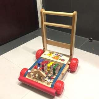 木製 折合 學步車 助步車