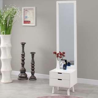 [NEW PRODUCT] Set Meja Rias Hera Stand Mirror - Putih (FREE ONGKIR JAWA & BALI)
