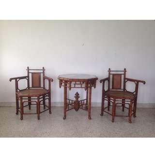 Vintage Chippendale Faux Bamboo Teak Set