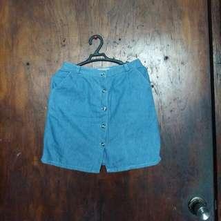 Button Down Blue Denim Skirt High Waist