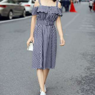Blue And White Gingham Cold Shoulder Midi Dress