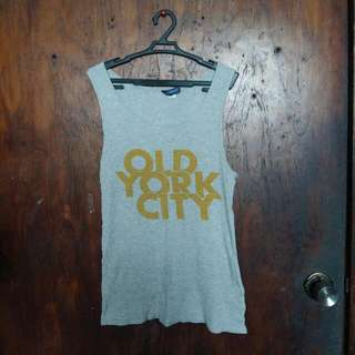 H&M Gray Muscle Tee Sleeveless Top Coverup For Sports Bra