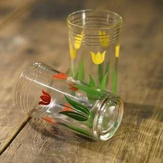 懷舊 美國 40s 玻璃杯 印花 Juice Glass