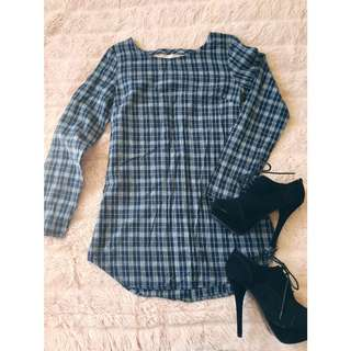 Flannel Mini Dress With Open Back Detail Size XS/6