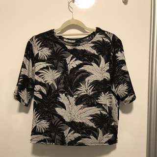 Topshop Printed Round Neck Top