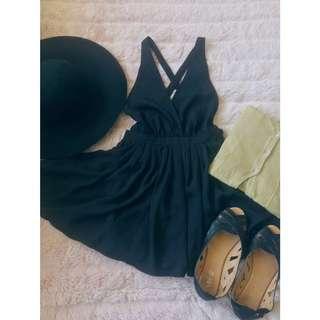 Cross Over Back Flowing Black Dress