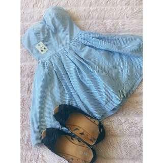 Cute Striped Blue Bubble Dress