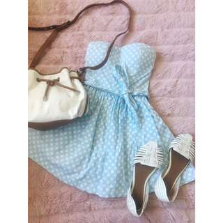 Blue And White Spotted Mooloola Dress 8/6