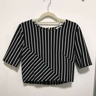 Valleygirl Striped Crop Top