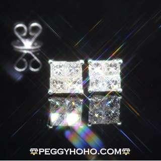 ((無邊鑲公主方鑽)) 全新18K白金52份真鑽石耳環一對