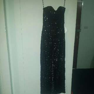 Black Strapless Sequin Gown Size 6