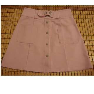 正韓 氣質粉色 排扣A字裙(含運)
