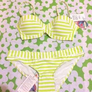Piha Swimwear Funky Stripe In Lime