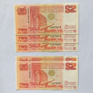 Old Singapore $2 Notes