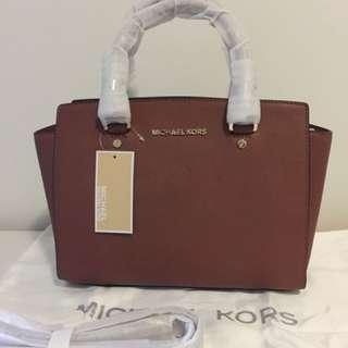 NWT Authentic Michael Kors Medium Selma Satchel - Luggage