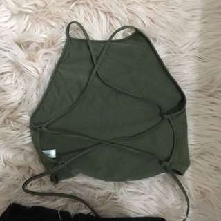Backless Khaki Crop Top Size 8