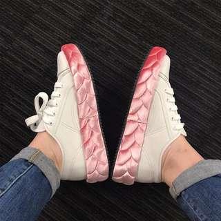 🚚 2017秋季新款小白鞋女真皮厚底增高女鞋鞋邊粉色板鞋休閒運動鞋