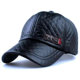 Topi Baseball Aksen Kulit Faux Leather Caps