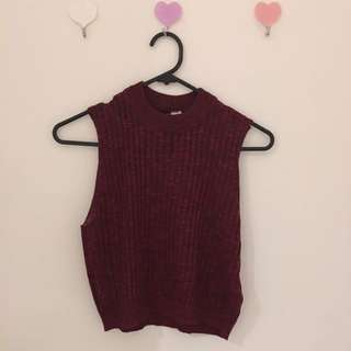 H&M Maroon Cropped Turtleneck