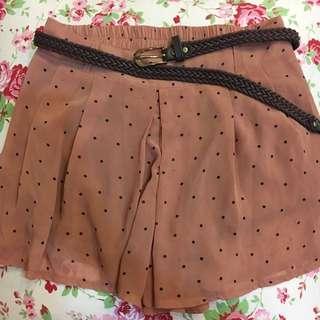 雪紡甜美粉色點點裙褲
