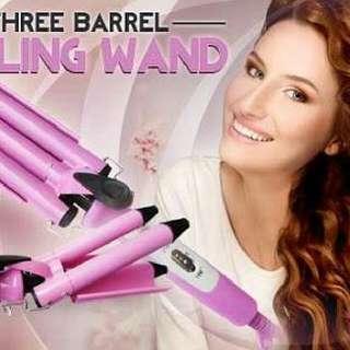 Three Barrel Curling Wand