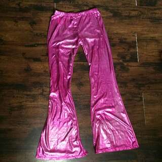 NEW Metallic Pink & Silver Flared Tight Pants