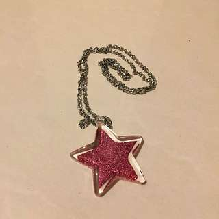 Pink Glitter Star Necklace