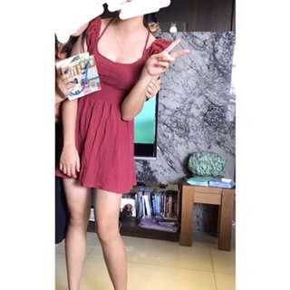 🚚 甜美紅色一字領綁帶洋裝
