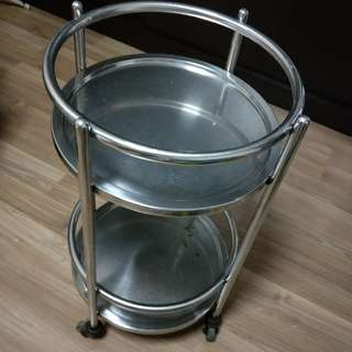 Stainless Steel Shelf With Wheels, Daimeter 16 Inches,Height 29 Inches.