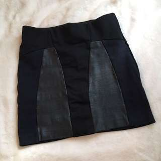 Zara Navy/Black/Leather Mini Skirt
