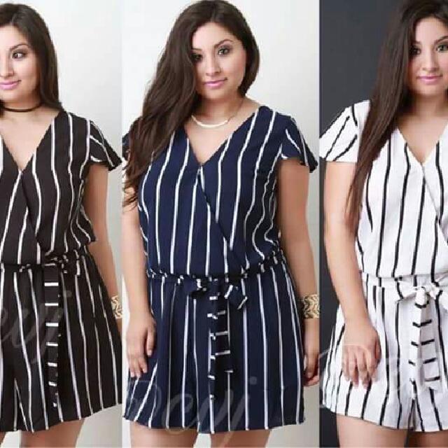 3 Colors Stripe Plussize Overlap Jumpshort