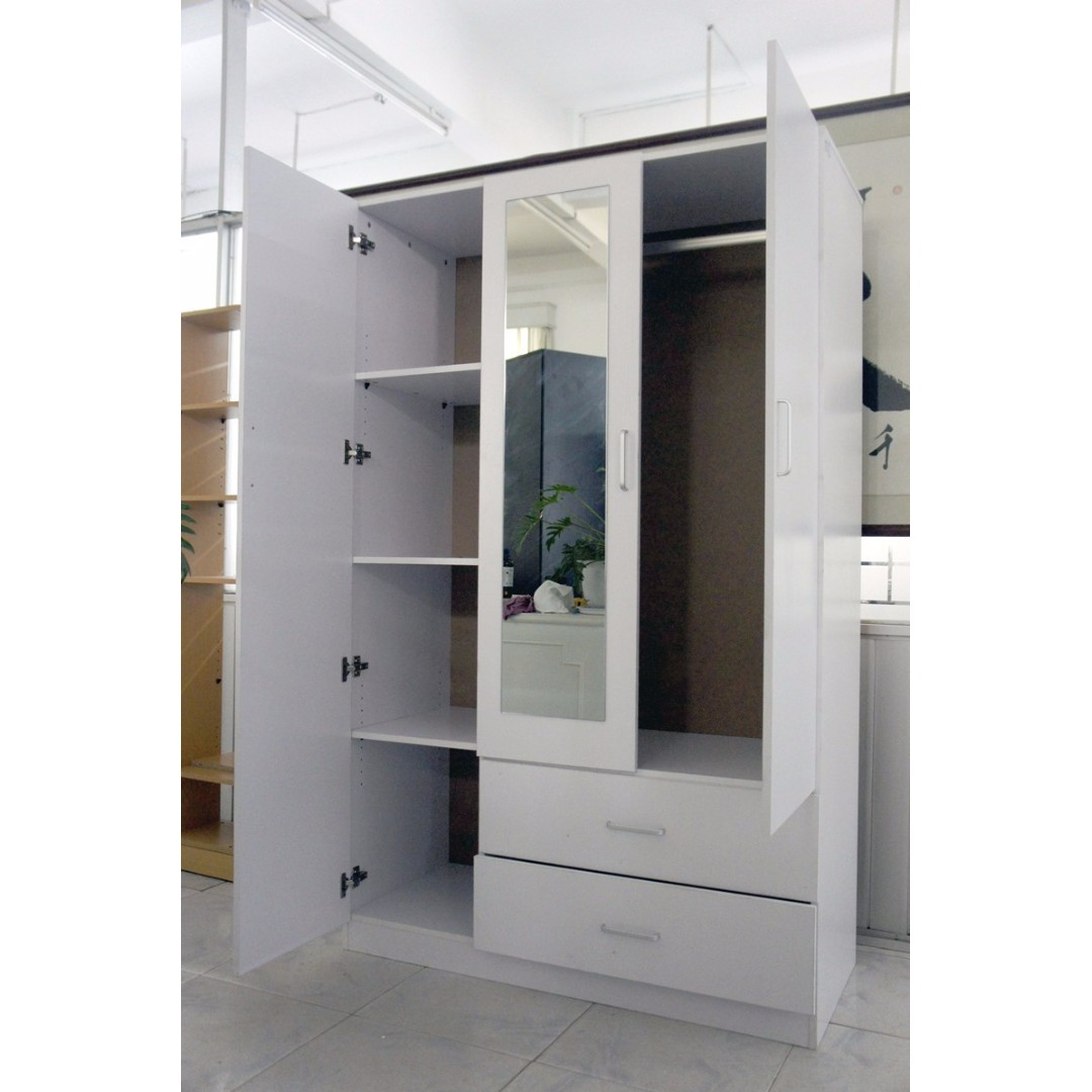 3 doors white wardrobe, with mirror and drawers