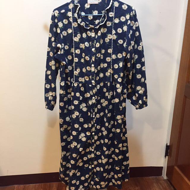 日系寬鬆雛菊洋裝