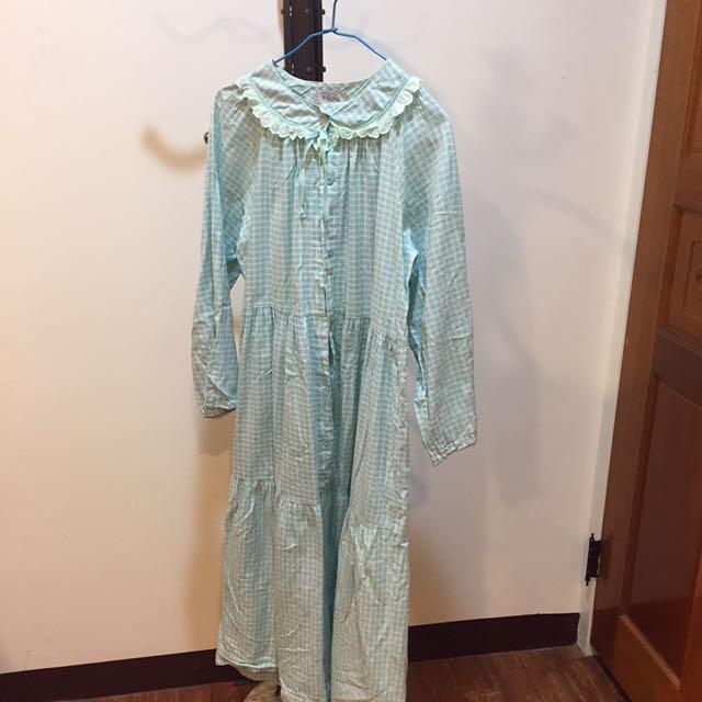 古著粉綠格子公主風洋裝