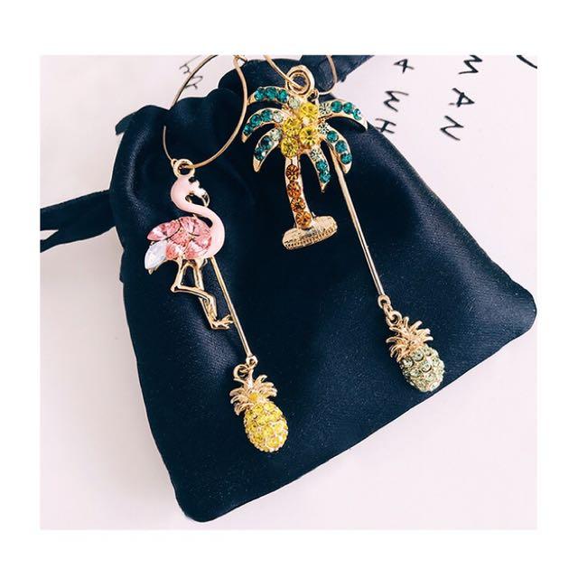 火烈鳥+鳳梨+椰樹歐美誇張耳環