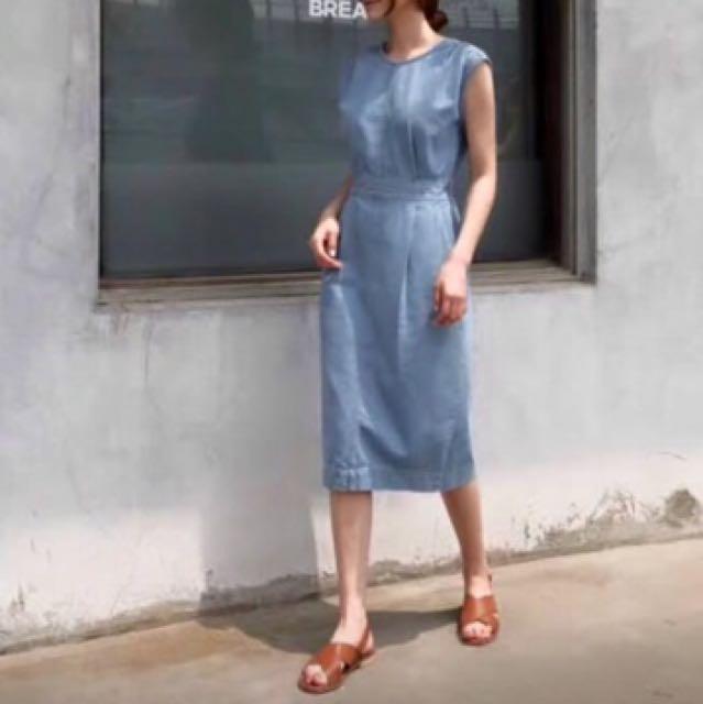 水藍色牛仔洋裝