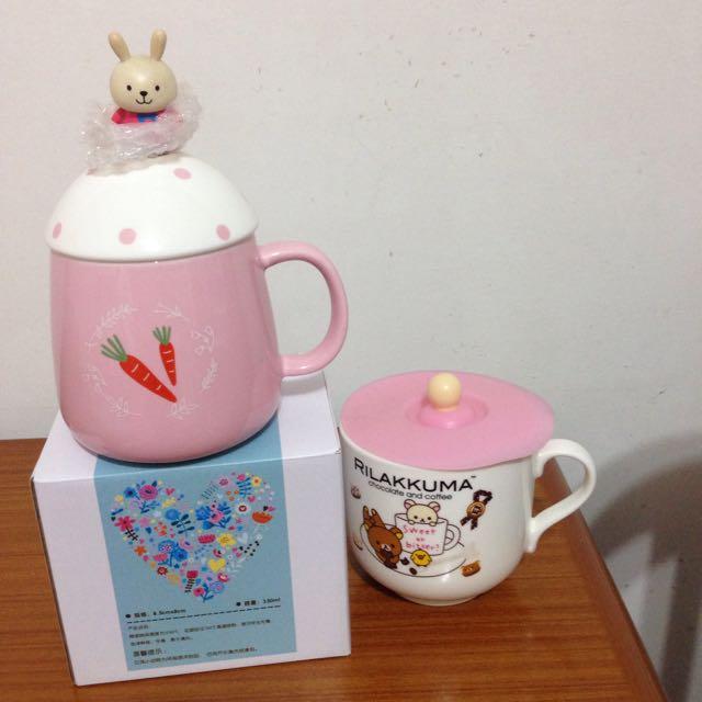 全新 兔兔馬克杯附湯匙茶匙午茶杯 拉拉熊馬克杯碗有蓋子