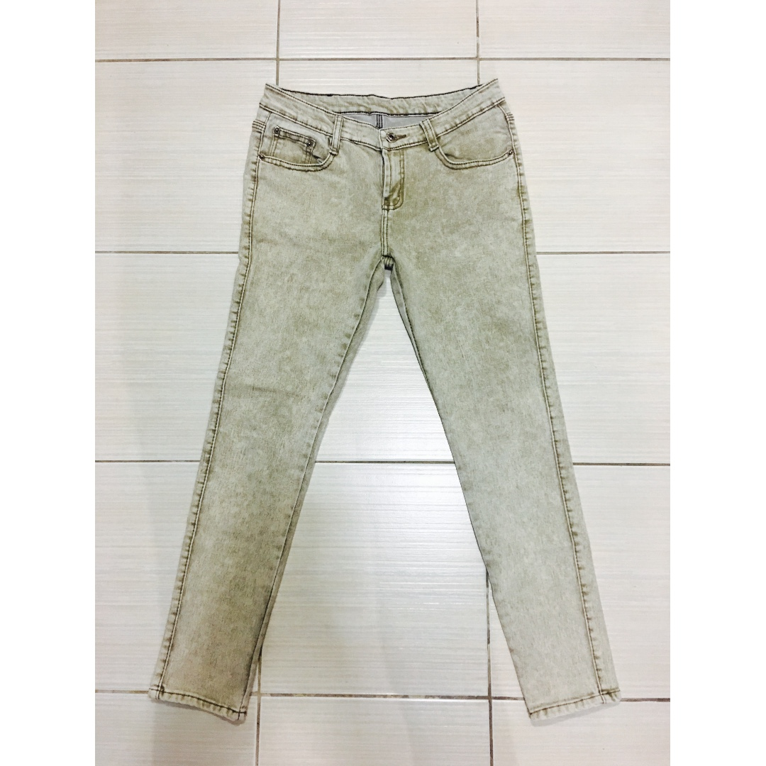 Acid-washed Light Yellow Denim Pants