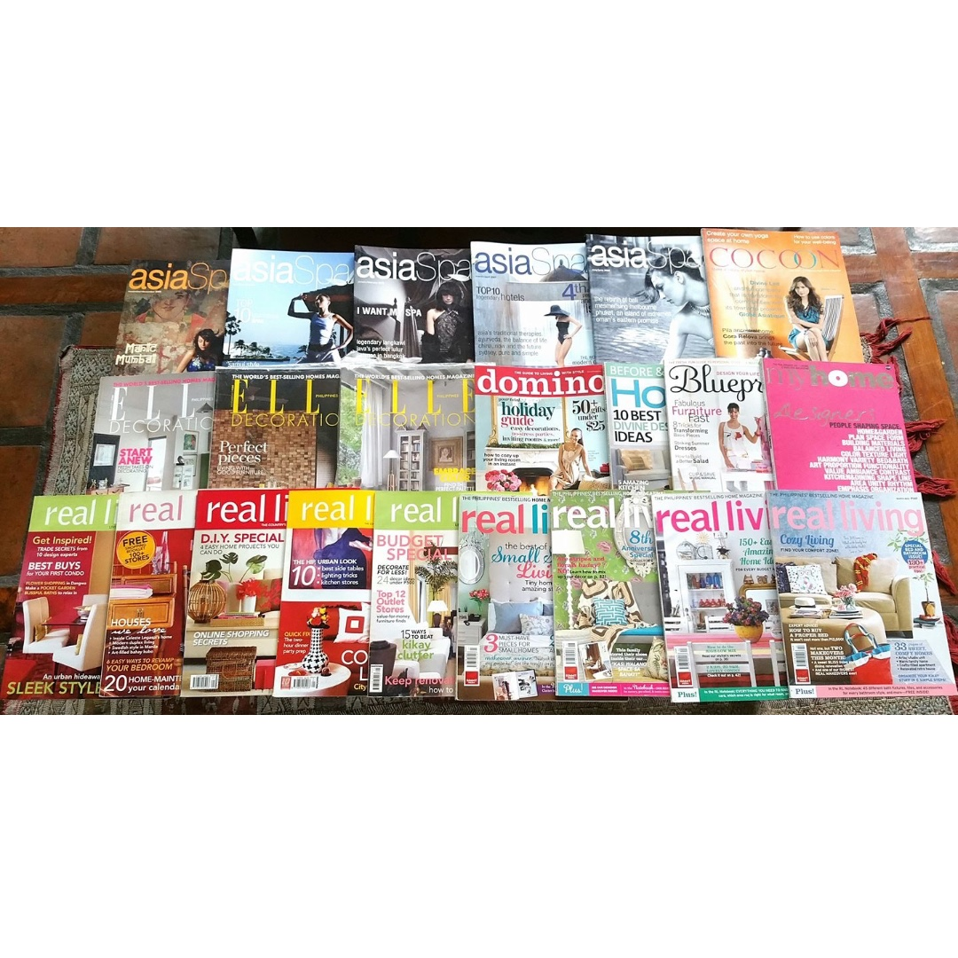 REPRICED Assorted lot of 22 magazines - home decor and Asian Spa